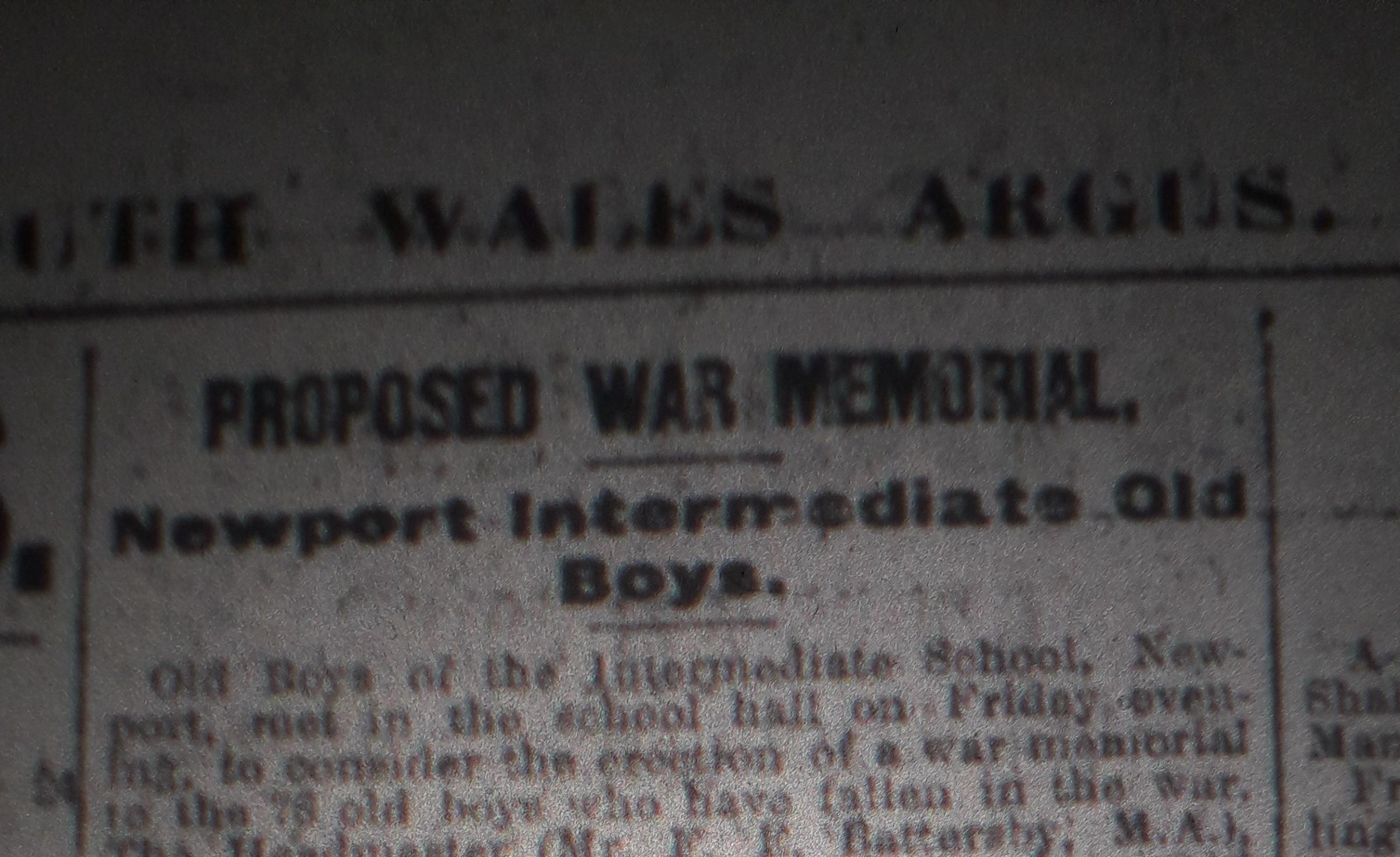 100 Years Ago: Newport school plans war memorial to its former pupils