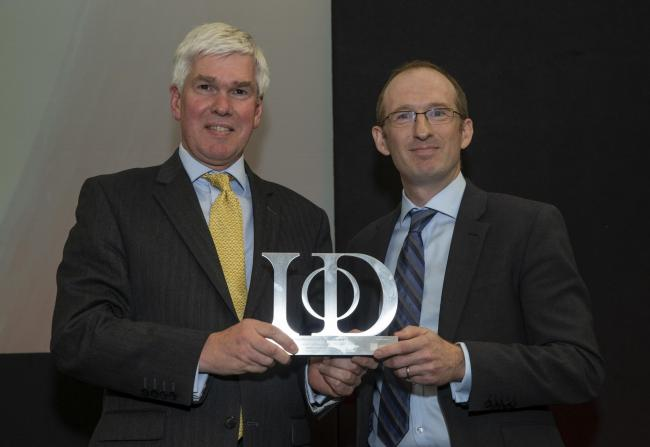 Special IOD Award: James Crawford (left), CEO of Johnsey Estates, receives the IOD Wales Judges' Special Award from John Craven, Head of Financial Reporting & Operations, Legal and General