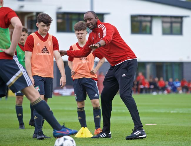 LEGEND: Patrick Vieira coaching Newport County academy players at Dragon Park. Picture: David Rawcliffe/Propaganda