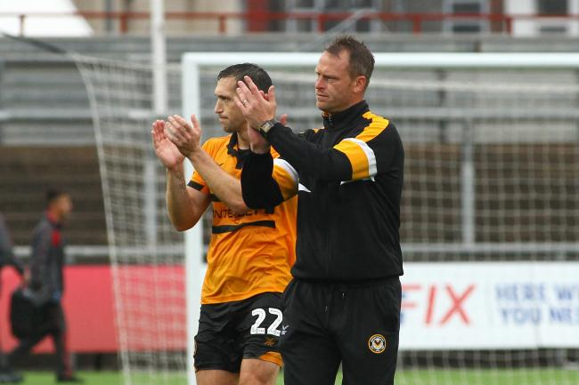 FRIENDSHIP: Newport County manager Michael Flynn, right, and captain Andrew Crofts, who has now left the club