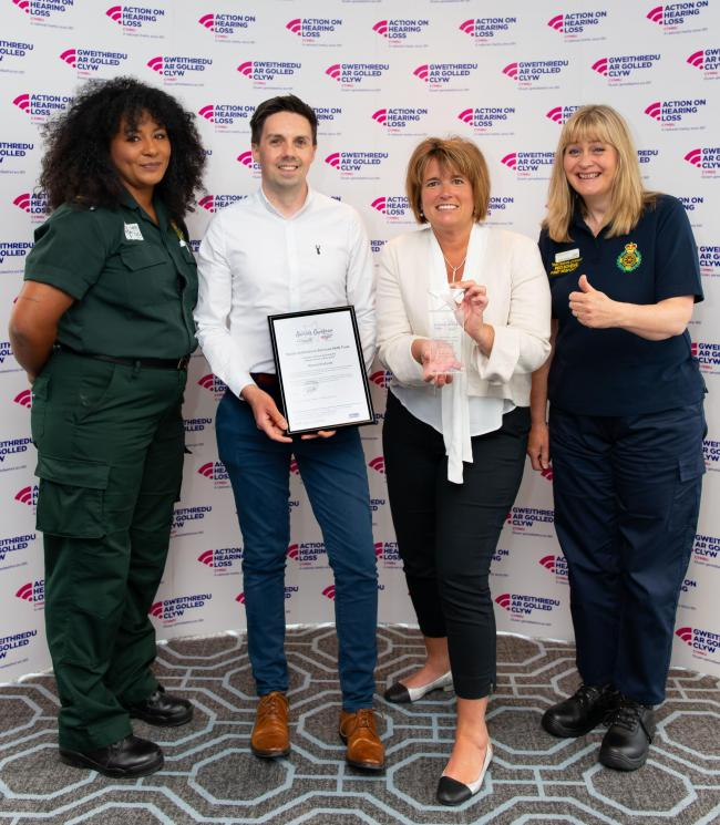 The Patient Experience and Community Engagement team collecting the awards. Picture: Wales Ambulance Service.