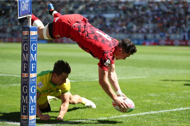 REMARKABLE: Joe Goodchild flies in for Wales in Paris against Australia