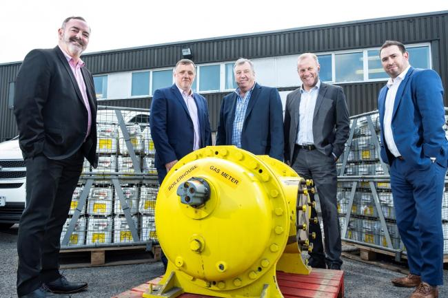 Recent investment in Wales for Dragon Recycling Solutions Rhymney: (from left) Stephen Elias Development Bank of Wales, Wayne Hoskins and Mick Young Dragon Recycling Solutions, Martin Palmer Tata Steel subsidiary UK Steel Enterprise and Kris Hicks Busines