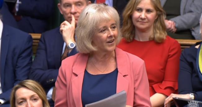 Newport West MP Ruth Jones giving her maiden speech in Parliament.