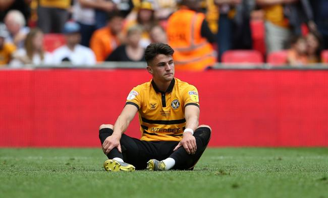 GUTTED: Regan Poole reacts to Newport County's League Two play-off final defeat at Wembley