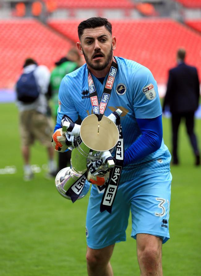 SIGNED: Goalkeeper Tom King, seen here celebrating promotion to the Championship with Millwall in 2017, has joined Newport County on a two-year deal