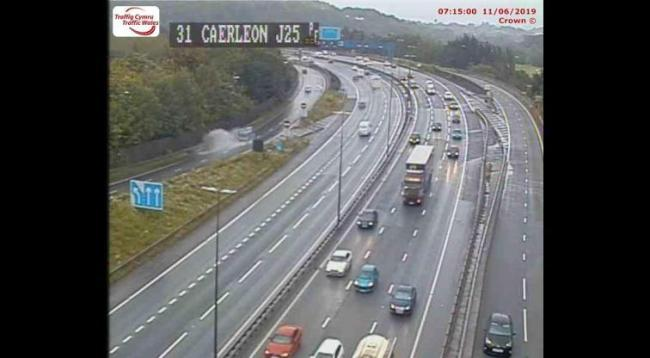 Traffic on J25 (Caerleon) on the M4 eastbound (Picture: Traffic Wales)